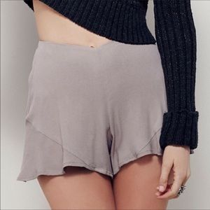 Free People Grey High Rise Flat Front Shorts